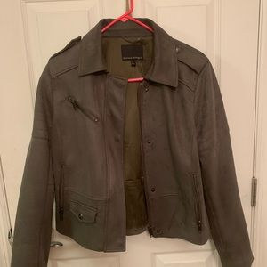 Vegan suede moto jacket -olive
